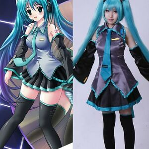 Vocaloid Hatsune Miku Halloween Cosplay Costume Fancy Uniform Dress Size S-XL