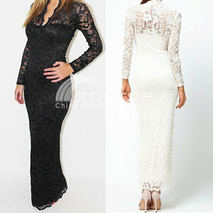 Womens-Formal-Party-Full-Lace-Prom-Gown-Evening-Cocktail-Long-Maxi-Dress-Fashion