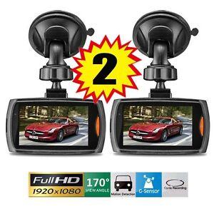 "2x Full HD 1080P 2.3"" Car DVR CCTV Dash Camera G-sensor Night Vision Recorder AP"