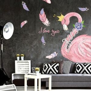 Pink-Flamingo-Wall-Sticker-Princess-Decal-for-Girl-Bedroom-Home-Decor
