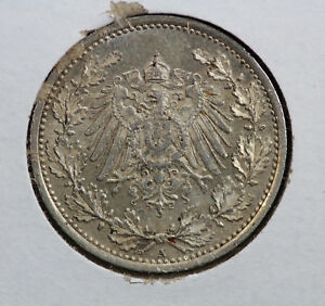 Germany-Empire-1905-A-1-2-Mark-90-Silver-Coin-Berlin-Mint
