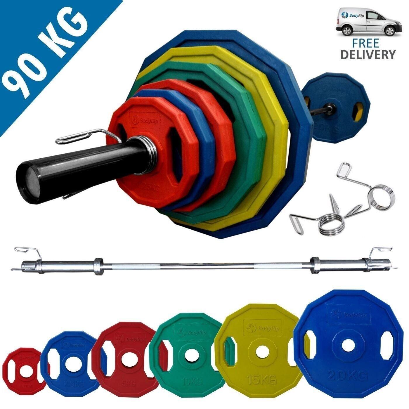 Bodyrip Poligonali Coloreeato Olimpico Peso Set di 90kg With 7ft Bilanciere