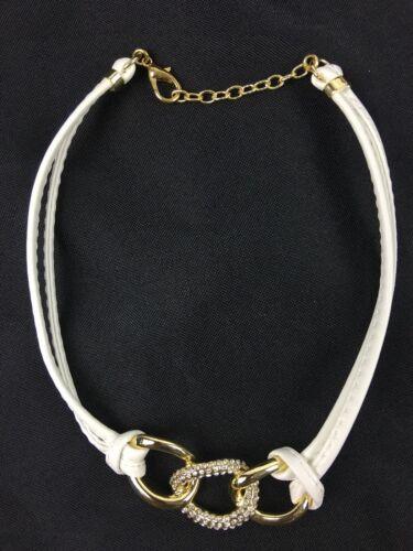 Hsn Roberto By Rfm noda Pavé Crystal White Leather-like Cord 15 Necklace