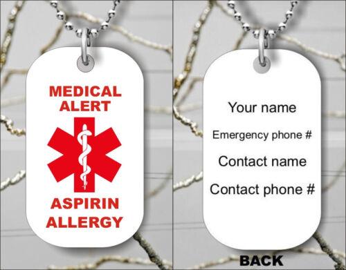ASPIRIN ALLERGY MEDICAL ALERT PERSONALIZED DOG TAG PENDANT NECKLACE mku7Z