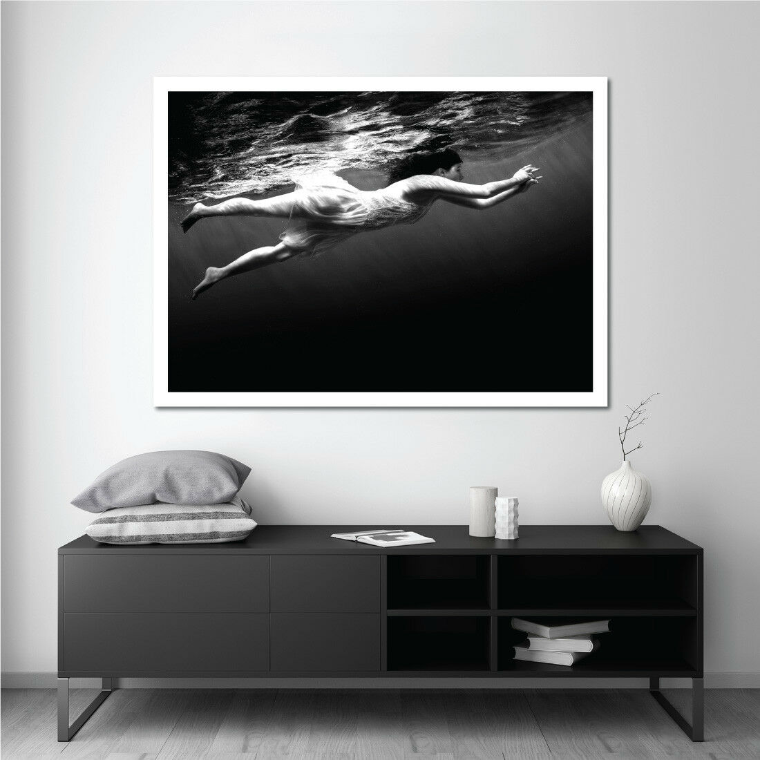 Immerse Monochrome Art Print Poster, Serena Dive Art Print Poster, Ocean Art