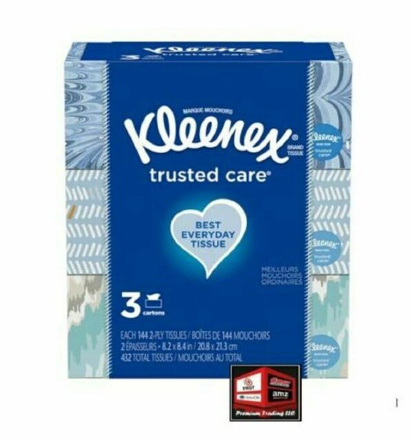 Kleenex Trusted Care White Facial Tissue Pack of 5 160 2-Ply Tissues,