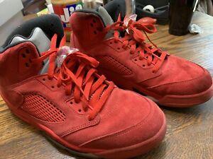 designer fashion 40969 0ee4b Details about Nike Air Jordan 5 Red Suede Retro V University Red Size 12