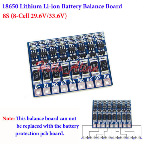 8S 8 cell 18650 Li-ion Lithium Battery Charger Module Balance Board 29.6V 33.6V