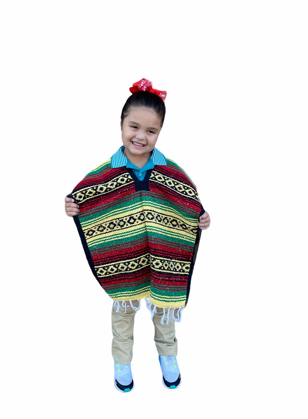 MEXICAN KIDS PONCHO , FALSA , COSTUME ,BLANKET SERAPE GABAN ,KIDS 5 - 9 , RASTA