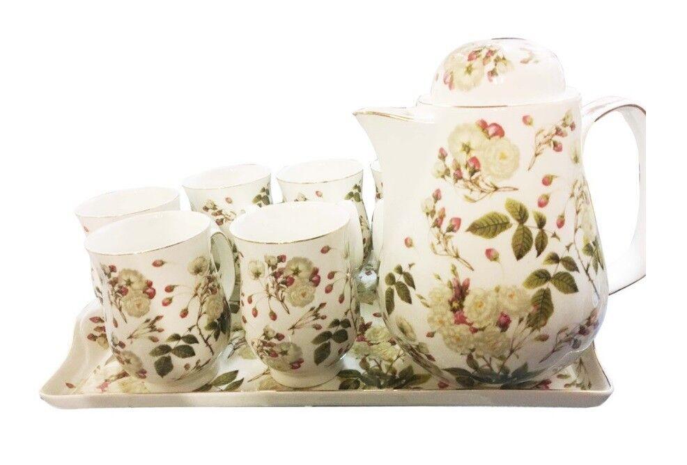 Porcellana tè set 8pc Teiera, 6 X TAZZE E VASSOIO SET Da Tè Fiore Vintage