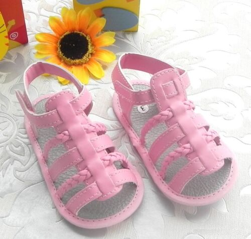 NEW Baby Girl Pink Gladiator Sandal Shoes 6-12-18 Months Size 4.5