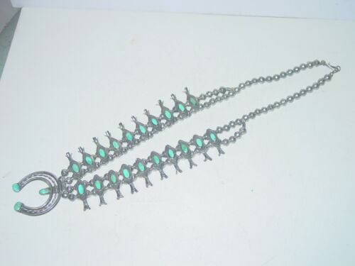 Sterling Turquoise Navajo Squash Blossom Necklace
