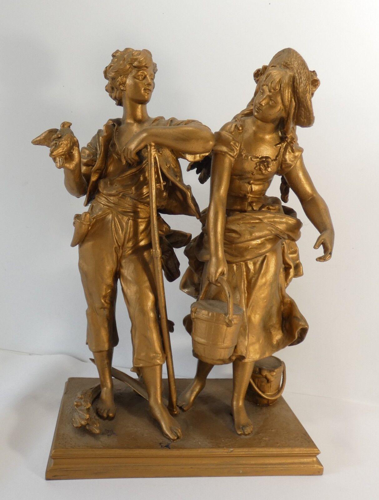 Jolie statuette en métal XIX è , scène champêtre, 30 cm