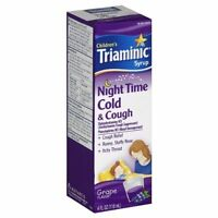 2 Pack Children's Triaminic Syrup Night Time Cold & Cough Grape Flavor 4oz Each on sale
