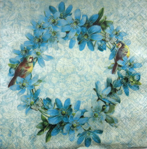 WREATH Decoupage Craft //Party 4 x Single Vintage Table Paper Napkins