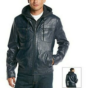 Details About Kenneth Cole Reaction Mens Navy Faux Leather Hooded Bomber Jacket Size Xl