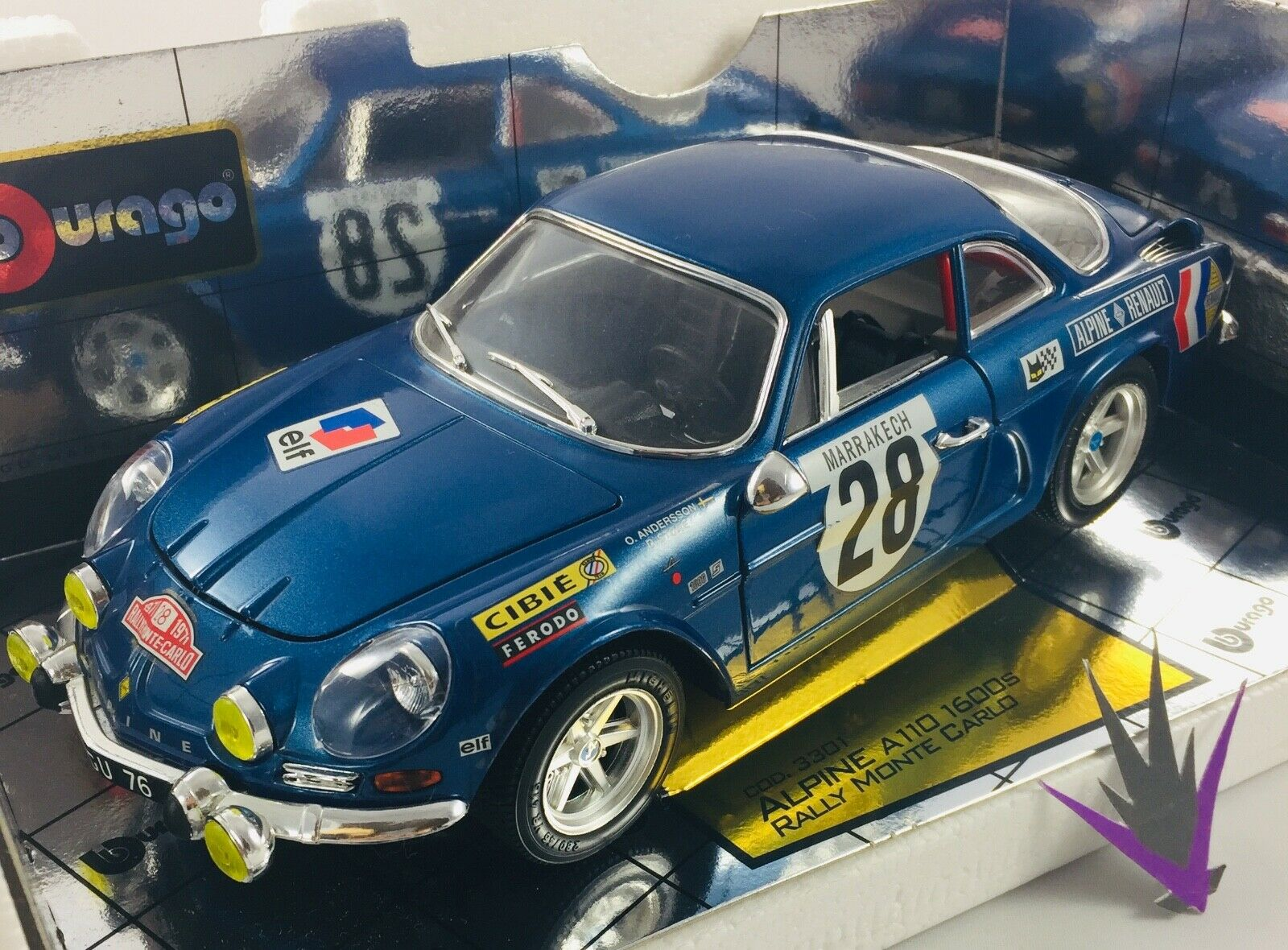 Alpine A110 1600S Rally Monte Carlo 1971 1 16 Bburago with box