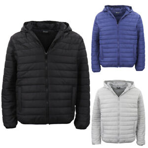 Men-039-s-Hooded-Lightweight-Parka-Puffer-Jacket-Quilted-Padded-Puffy-Coat-Windproof