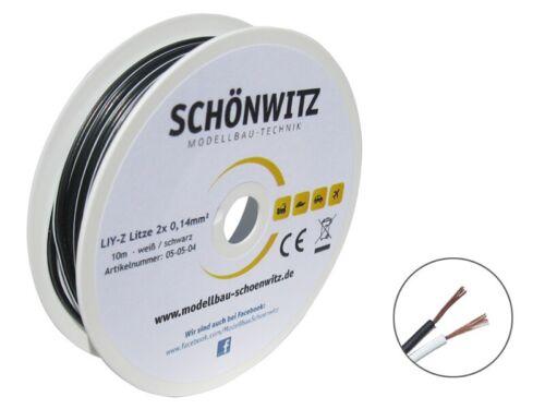 10m galon 2x0, 14mm² cable zwillingslitze doppellitze cable blanco/negro