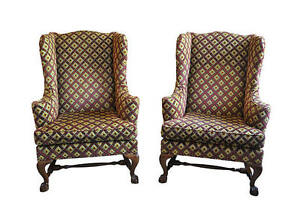 Image Is Loading Pair Baker Furniture Wingback Chairs Excellent Condition