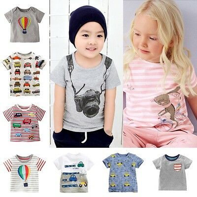Kids Cartoon Tops Baby Boys Girls Short Sleeve Cotton T Shirt Summer Tee T-Shirt