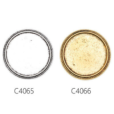 Round Shallow Bezel Brooch Pin Blank Bases Safety Brooch Findings 10Pcs 30MM
