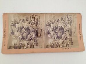 Stereoview-Card-1888-B-W-Kilburn-The-Wake-Antique-Photo-Mourning-Funeral