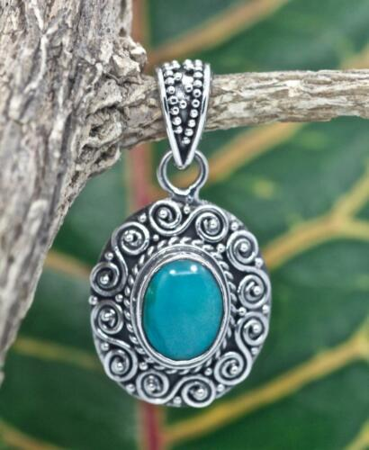 Handmade Sterling Silver .925 Bali Swirl Style Small Oval Pendant w Turquoise.