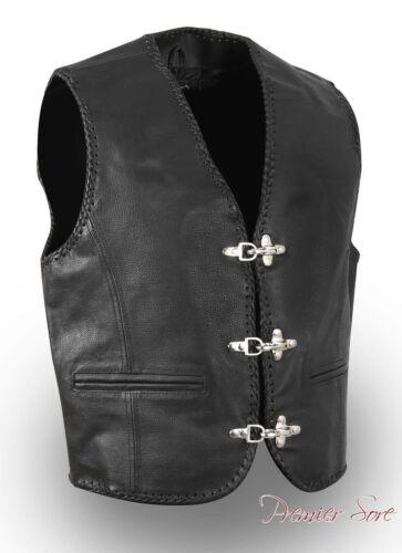Leather Black Waistcoat Biker Vest Motorcycle MotorBike Fish Buckle Leather Vest