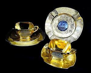 ARZBERG-DREMONT-2-GOLD-amp-PLATINUM-COURTING-COUPLE-2-1-2-034-CUP-amp-SAUCER-TRIO-SETS