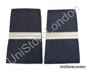 Epaulet Pilot Epaulette Sliders 1 Silver Mylar Bar Navy Blue Cloth R1314