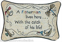 Coastal Home Decor - Fisherman Lives Here With The Catch Of His Life Pillow