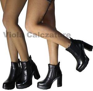 Stivaletti-Donna-Stivali-boots-Tronchetti-scarpe-Tacco-alto-plateau-nuovo-9006