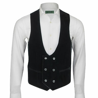 Men's Vintage Velvet Double Breasted Tux Suit Waistcoat Low U Cut Slim Fit Vest