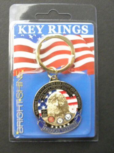 AMERICAN WARRIORS ARMY NAVY AIR FORCE MARINES COAST GUARD KEY RING KEY CHAIN 1.5
