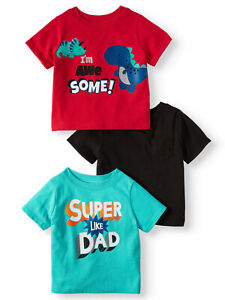 Toddler Boy/'s Carters 3 Pack Short Sleeve Graphic T-Shirts Multicolor