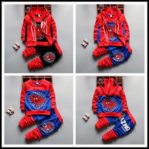3pcs Kids Baby Boys Spider-man Suit Hooded zipper Vest+Tops+Pants Clothes Sets