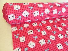 by METRE PINK cotton fabric KAWAII cute kitty CATS gingham check kids girls
