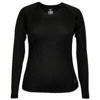 Women's Terramar Body Sensors Helix Scoop Neck L/s Top Shirt Base Layer Black Xl