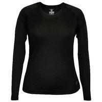 Women's Terramar Body Sensors Helix Scoop Neck L/s Top Shirt Base Layer Black Xl