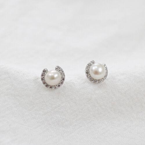 Señora pendientes luna süßwasserperle real Sterling plata 925 circonita aretes