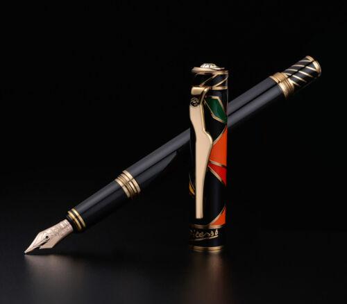 Picasso Maya Rhythm 10K Gold Nib Fountain Pen Full Metal Luxury Pen Gift Box