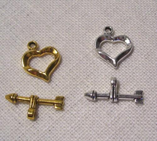5 à 10 sets FT01 LOT FERMOIRS TOGGLE COEUR ** 13 x 16 mm ** Bijoux bracelet