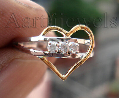 0.15ct Diamond 14k White Gold Heart Shape Elegant Ring Valentine's Day