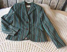 Cotton mix jacket blazer by LAKELAND Size 14 Deep turquoise with embossed velvet