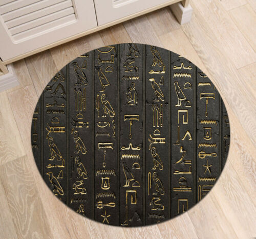 Ancient Egyptian Hieroglyphics Kids Area Rugs Round Carpet Room Floor Yoga Mat