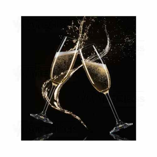 Splashback Toughened Glass Panel Glasses of Champagne with Splash Any Sizes