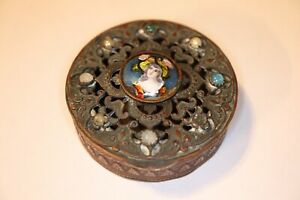 Antique-French-Limoges-Porcelain-Enamel-Plaque-Jeweled-Gilt-Bronze-Compact
