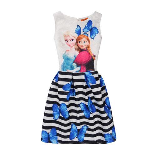 UK Kids Girls Frozen Prints Skater A-line Jacquard Sleeveless Party Dress 5-13Y