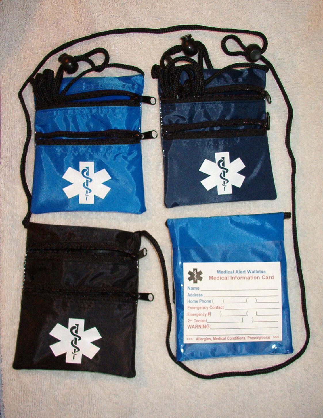 2 Zippers Nylon Neck Medical Wallets w/ med symbol, colors Black, Navy & Royal